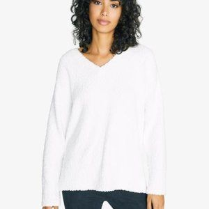 Sanctuary NWT vneck teddy sweater white sz XL cozy